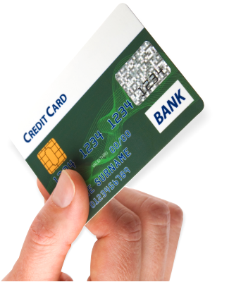 credit card on hand