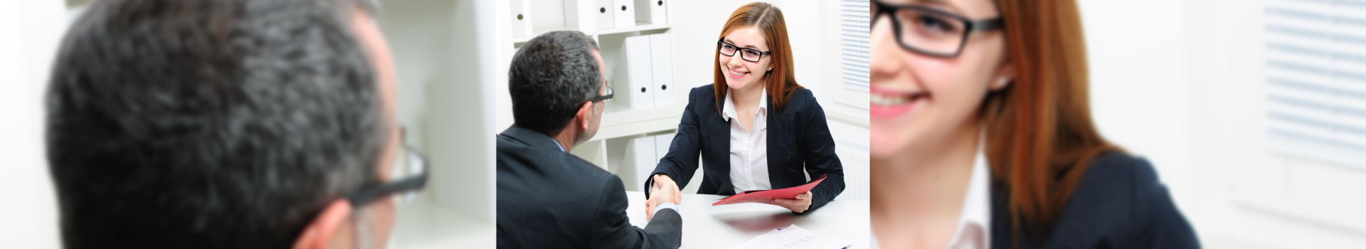 business woman having a deal with her client